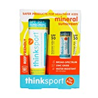 Thinksport Kids 2-Piece Mineral Sunscreen Combo Pack | SPF 50 3oz Sunscreen, SPF 30 Sunscreen Stick | Great for Sport & Active Use | 20% Zinc Oxide | Top Rated by EWG