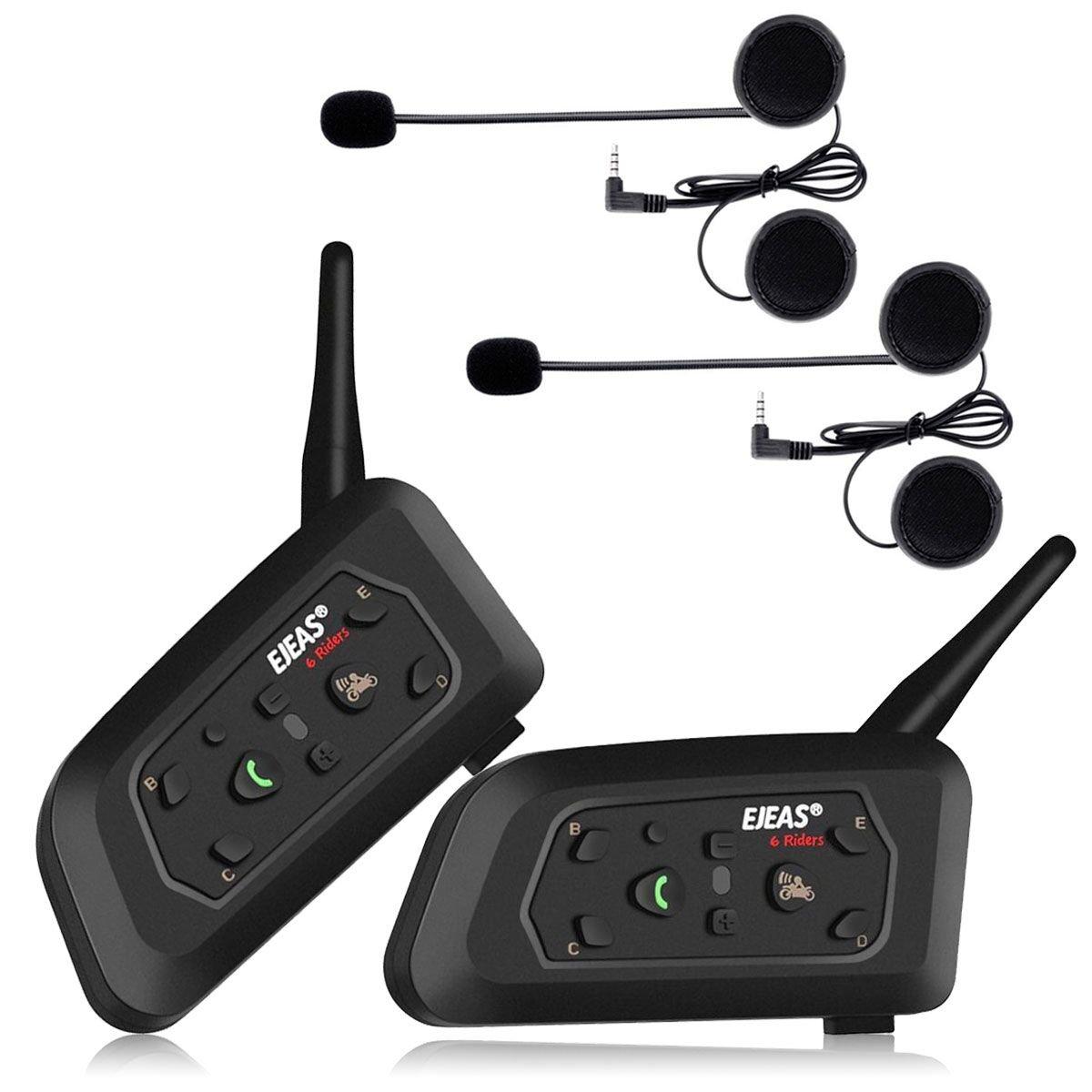 Ejeas V6 Pro 2xAuriculares Intercomunicador Moto Bluetooth para Motocicletas, Gama Comunicación Intercom de 1200m,