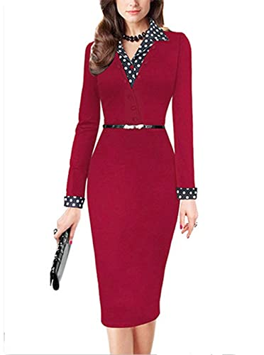 Yomoko Women's Lapel Polka Dot Long Sleeve Wear to Work Office Pencil Dress