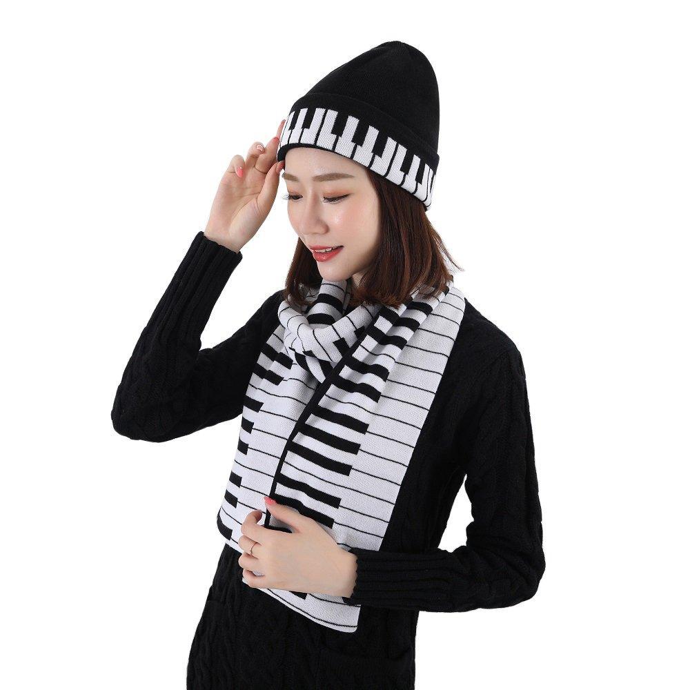 Lantra Besa – Set di berretto e sciarpa da donna, motivo pianoforte, per autunno, inverno e primavera, calda lana, nero/bianco CH0014
