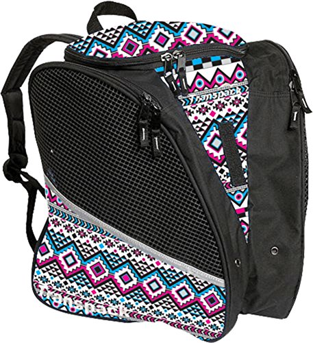 Transpack Ice with Print Design - Bag for Ice Skating (White/Pink/Aqua Aztec)
