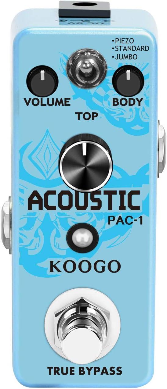 Koogo Guitar Acoustic Pedal Analog Acoustic Guitar Simulator Pedal for Electric Guitar