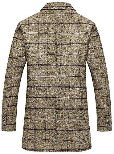 LeNG Men's Stylish Wool Blend Lattice Pattem Single Breasted Pea Coat KhakiUS 2X-Large