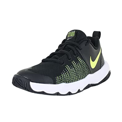 NIKE Boy's Team Hustle Quick (GS) Basketball Shoe Black/Volt/White Size