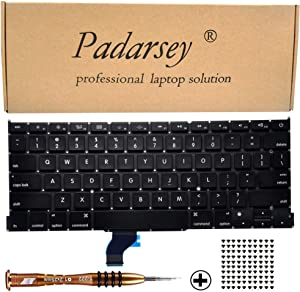 """Padarsey Replacement Keyboard Compatible for MacBook Pro A1502 13"""" 2013-2015 Retina Series Black US Layout Part Numbers ME864 ME865 ME866 with 80Pce Keyboard Screws and Screwdriver"""