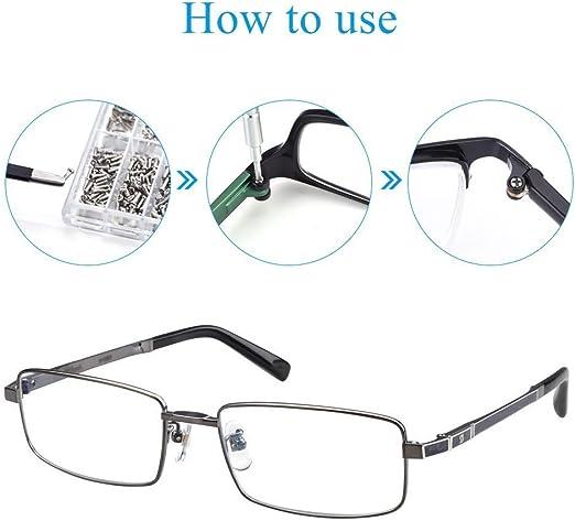 1 Mini Destornillador 1 Pinza para Relojes//Gafas//Lentes de Sol AMGOMH 1000 Piezas Tornillos Gafas Kit de Herramientas de Reparaci/ón de Gafas