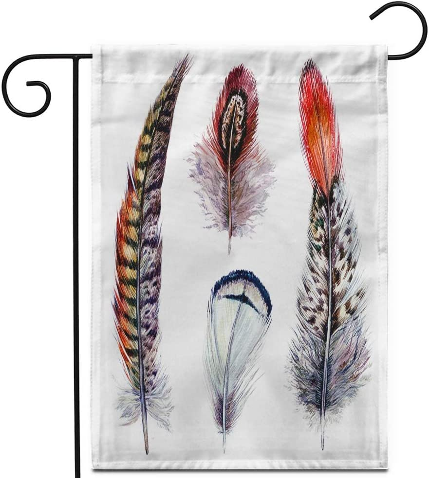 """Awowee 12""""x18"""" Garden Flag Collection of Watercolor Pheasant Feathers Wild Nature Bird Plumage Outdoor Home Decor Double Sided Yard Flags Banner for Patio Lawn"""