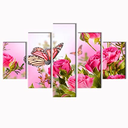 Amazon.com: VV ART Butterfly And Pink Flower Wall Art Canvas Prints ...