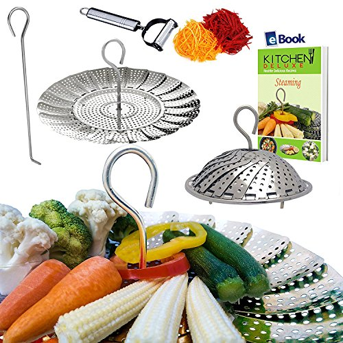 Instant Pot Veggie Steamer Basket - LARGE - Fits 5/6/8 Quart Pressure Cooker - 100% Stainless Steel - BONUS Julienne Vegetables Peeler, Safety Tool & Cooking eBook - Use as Egg Rack for Instapot