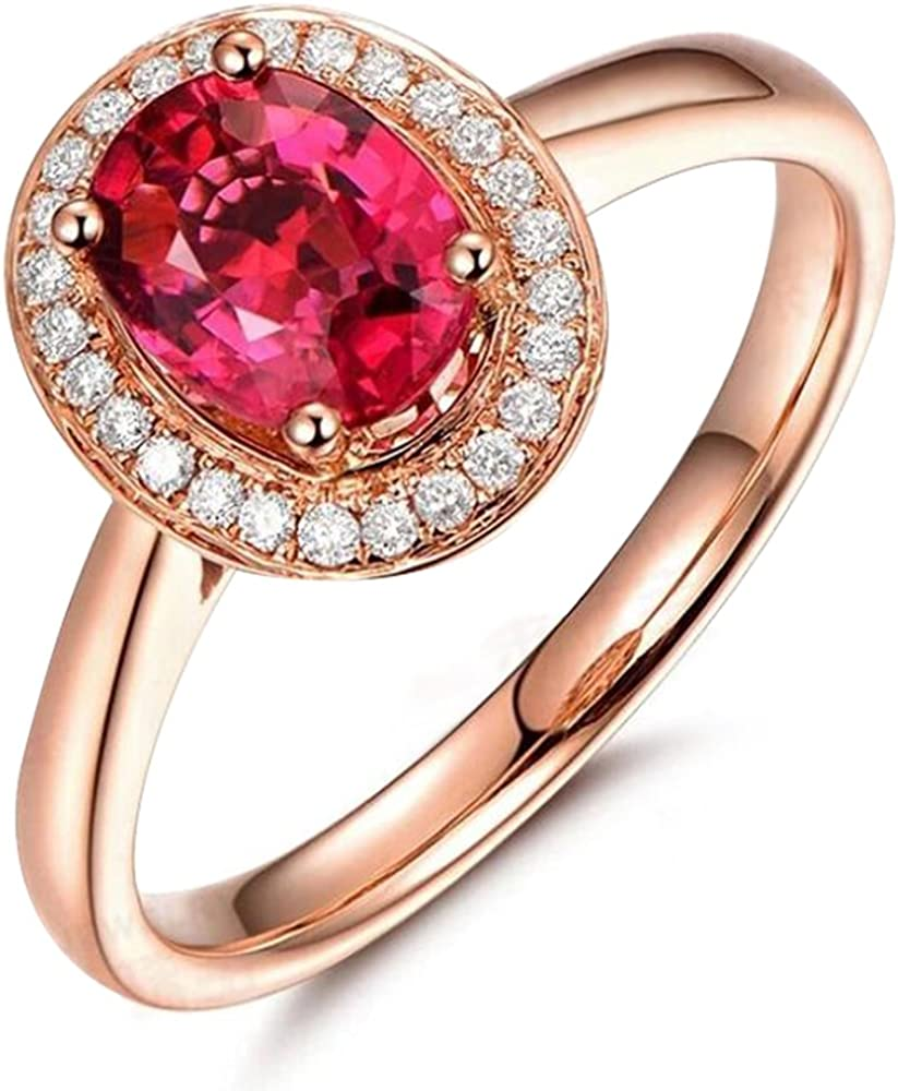 Sorpresa Mujer's Compromiso Boda Sólido 14K Oro rosa Turmalina Piedra preciosa Diamante Promesa Anillo Conjuntos