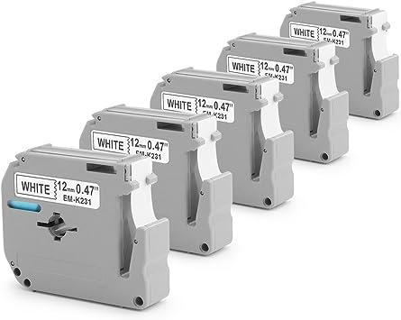 DRUCKER SCHRIFTBAND KASSETTE 12mm SCHWARZ-WEIß für BROTHER P-Touch PT-65VP