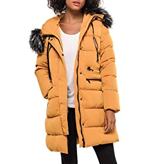 SS7 Damen Senf Kunstpelz Padded Mantel Größe 36 44 Hooded