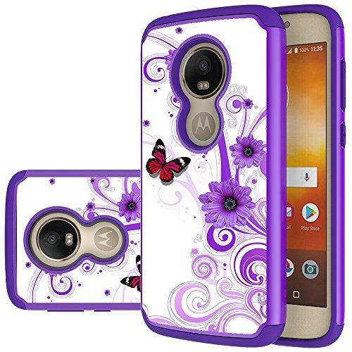 Moto E5 Play Case, Moto E5 Cruise case, MAIKEZI Hybrid Dual Layer TPU Plastic Armor Defender Phone Case Cover for Motorola Moto E5 Play XT1921 2018 (Armor Purple Flower)
