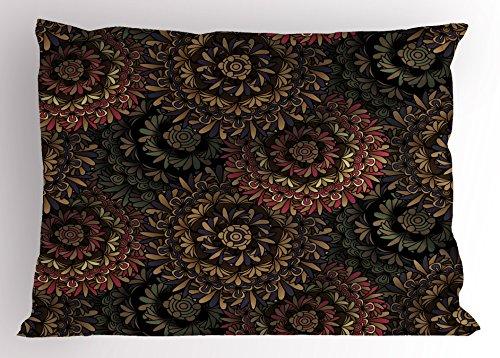 (Lunarable Psychedelic Pillow Sham, Dark Eastern Mandala Patterns Large Flowers Retro Bohemian Fantasy Garden Theme, Decorative Standard Size Printed Pillowcase, 26 X 20 Inches, Multicolor)