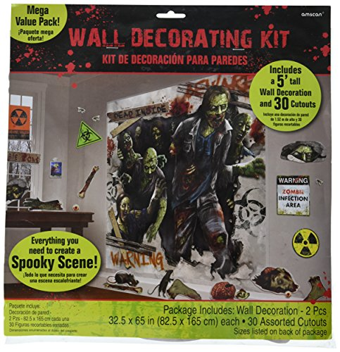 (amscan Zombie Apocalypse Halloween Trick or Treat Party Scene Setters Mega Value Wall Decorating Kit, Plastic, Pack of 32)