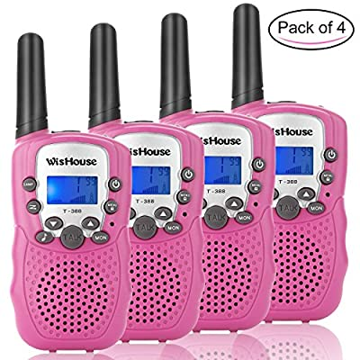 Wishouse Walkie Talkie Kids Toy Set, Best Gifts Easy use Two Way Radios for Girls, 22 Chanels 3 Miles Long range Cool Vox walky talky for camping hiking fishing outdoors(2 Pairs)