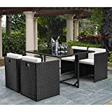 IDS Home Modern Outdoor/Indoor Garden All Weather 5 Piece Rattan Wicker Cube Dining Table Patio Furniture Set with Cream cushioned Seat Review