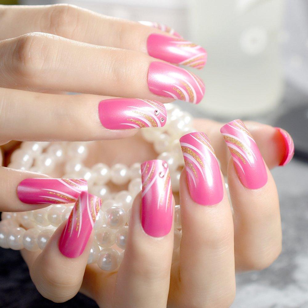 Amazon.com : Shimmer Shining Press On Nails Extra Long Square Dark ...