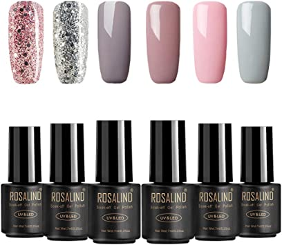ROSALIND Esmaltes Semipermanentes de Uñas en Gel UV LED, 6pcs Kit de Esmaltes de Uñas de Brillo Glitter 7ml: Amazon.es: Belleza