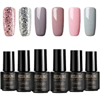 ROSALIND Nail Polish Gel, 4 * nude colors and 2 * flash, long-lasting varnish with UV and LED drying (requires top and base coat)