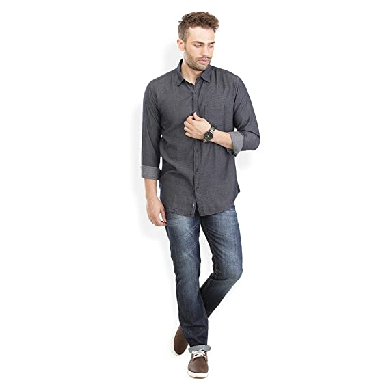 Urban Attire Indigo Blue Mens Semi Formal Shirt Amazon