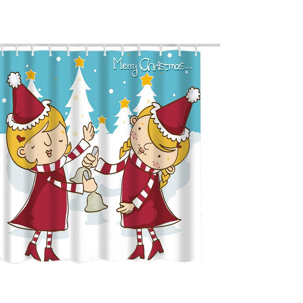 Duschvorhang, xinxinyu Weihnachten Duschvorhang mit Haken Home Decor ...