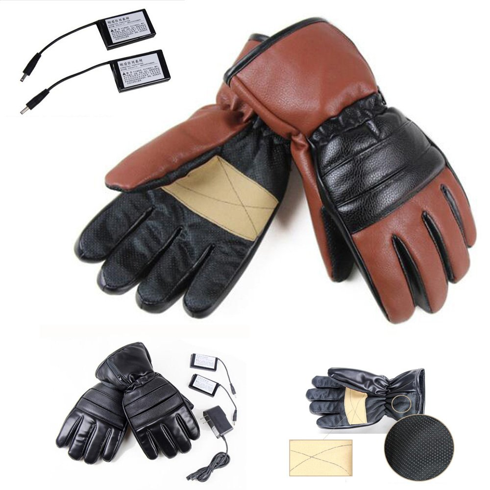 GOODKSSOP 1 Pair PU Leather Windproof Winter Ski Outdoor Work Warmer Gloves Cycling Motorcycle Bicycle Electric Heated Hands Glove with 3000mAh Rechargeable Battery (Black, M)