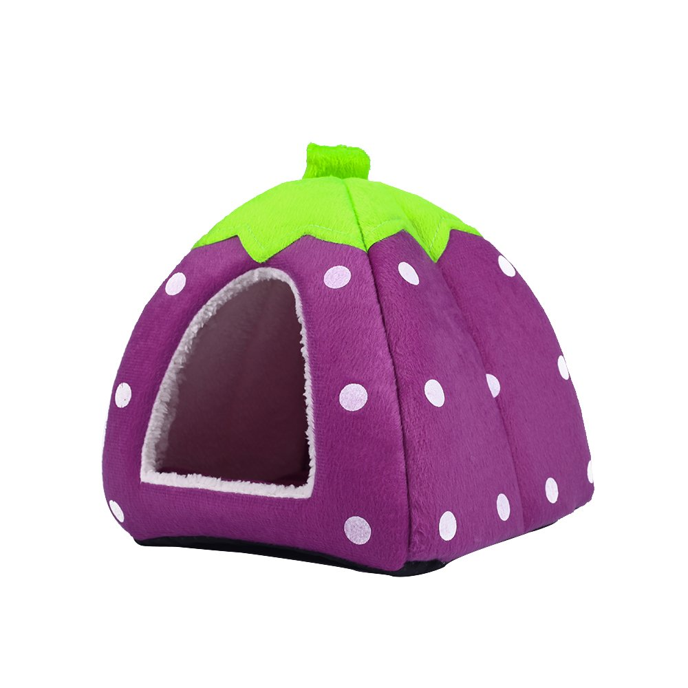 Spring Fever Strawberry Guinea Pigs Fleece House Rabbit Cat Pet Small Animal Bed Purple XL (18.918.90.8 inch) by Spring Fever (Image #3)