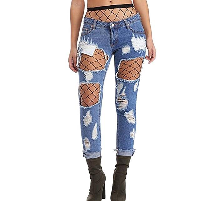 WanYang Mujeres Denim Loose Jeans Rotos Vaqueros Pantalones Medias de Rejilla Negra (con Calcetines Fishnet): Amazon.es: Ropa y accesorios
