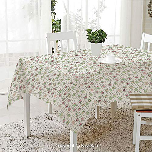 AmaUncle Premium Waterproof Table Cover Spring Easter Party Festive Theme Eggs and Leaves Table Protectors for Family Dinners (W55 xL72)