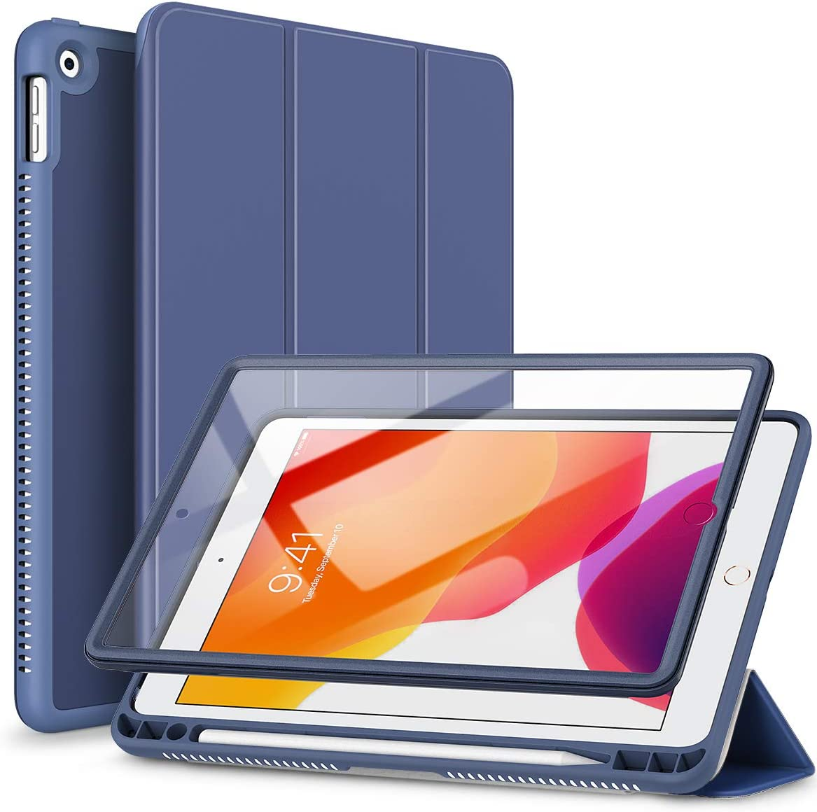 "SURITCH for iPad 8th/7th Generation Case/iPad 10.2 Case,[Built in Screen Protector] [Pencil Holder] [Auto Sleep/Wake] Lightweight Smart Cover and Magnetic Trifold Stand for New iPad 10.2""(Navy Blue)"