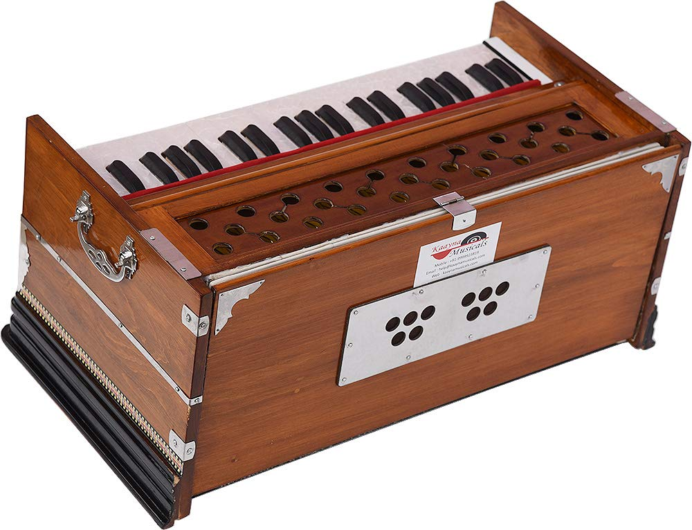 Harmonium Eco Model By Kaayna Musicals, Brown Colour, 7 Stops- 2 Drone, 3¼ Octaves, Gig Bag, Bass/Male Reed Tuned- 440 Hz, Best for Peace, Yoga, Bhajan, Kirtan, Shruti, Mantra, etc by Kaayna Musicals (Image #9)