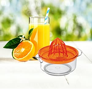 Uniware Fruit Juicer Strainer Reamer, Made in Italy, with Handle Pour Spout, BPA Free Colors may Vary (Orange)