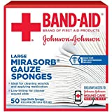 Johnson and Johnson First Aid 4 in. x 4 in. Mirasorb Gauze Sponges 50 ct Box -- 18 per case.