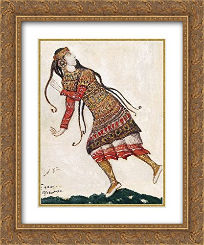 Nicholas Roerich 2x Matted 20x24 Gold Ornate Framed Art Print 'Sketch of costumes for The Rite of (Nicholas Roerich Rite Of Spring Costumes)