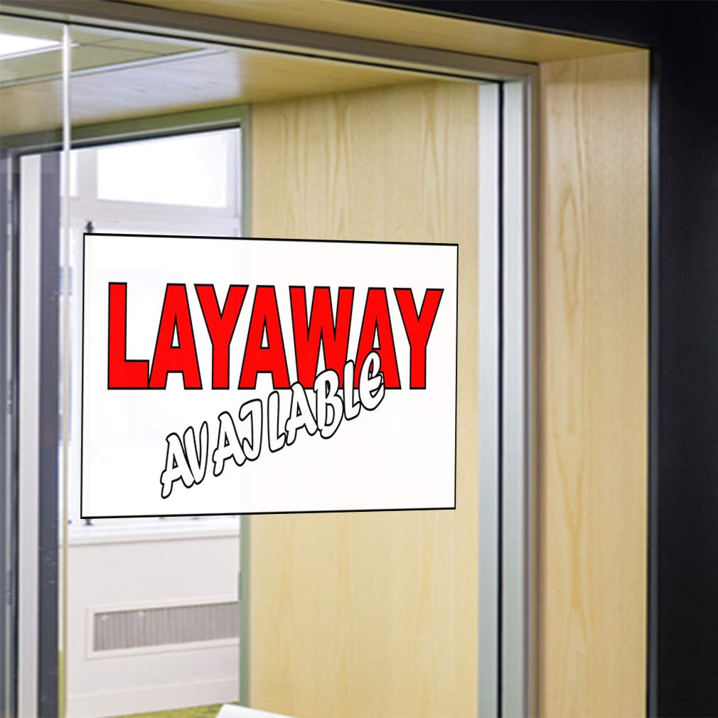 54inx36in Decal Sticker Multiple Sizes Layaway Available White Red Business Layaway Available Outdoor Store Sign White Set of 2