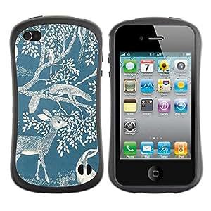 "Hypernova Slim Fit Dual Barniz Protector Caso Case Funda Para Apple iPhone 4 / iPhone 4S [Ciervo Naturaleza Primavera Azul Blanco Mármol""]"