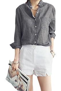 a61f96e88473 Tops de Lino de algodón Mujeres Camisa de Manga Larga sólida y ...