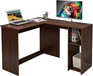 Corner Computer Desk L-Shaped Home Office Workstation Writing Study Table with 2 Storage Shelves, Walnut