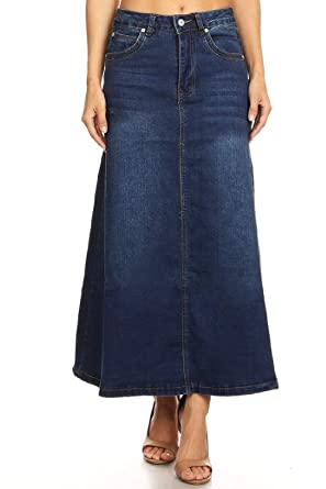 f882ae25b16 Women s Juniors Mid Rise A-Line Long Jeans Maxi Denim Skirt in Dark Blue  Size
