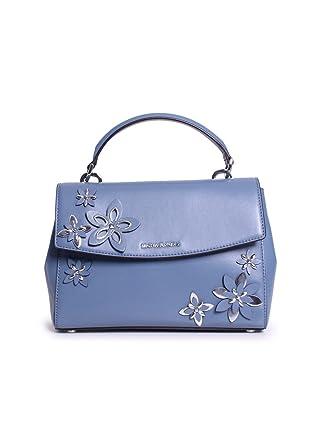 6dfe4343da83e Amazon.com  MICHAEL Michael Kors Ava Small Top Handle Satchel Denim  Flowers  Clothing