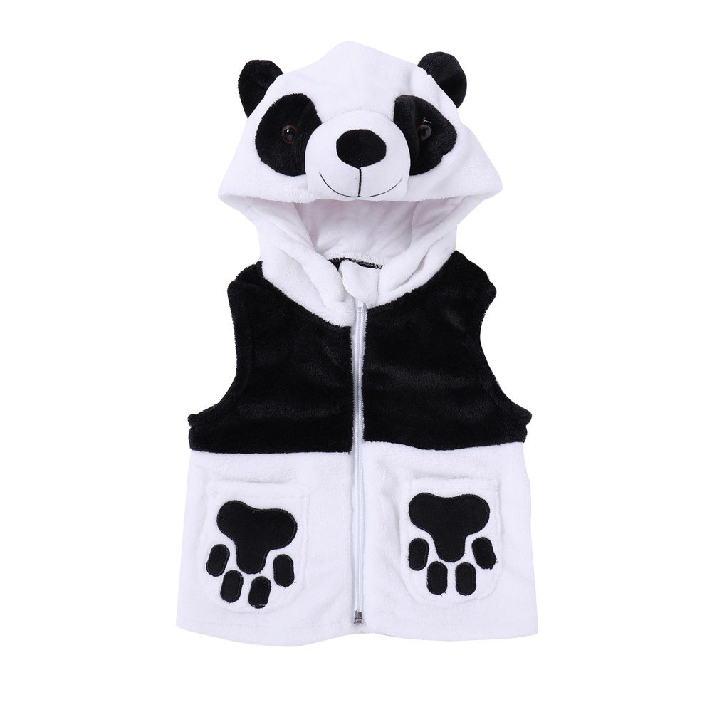 FIged Baby Outwear Cartoon Panda Hooded Waistcoat Tops Vest Outfits Clothes