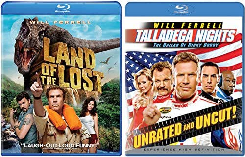 Will Ferrell Double Feature - Talladega Nights Uncut The Ballad of Ricky Bobby + Land of the Lost Blu Ray Comedy 2 pack