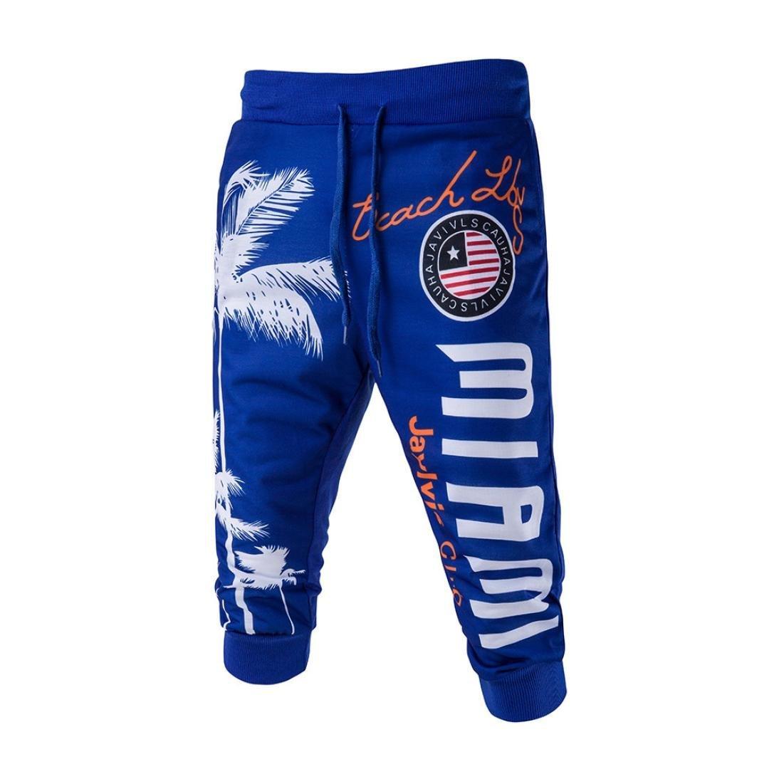 HTHJSCO Men's Hip hop Loose Sweatpants Graffiti Sports Jogger Trousers, Drawstring Elastic Waist Printing Loose Sports Pants (Blue, M)