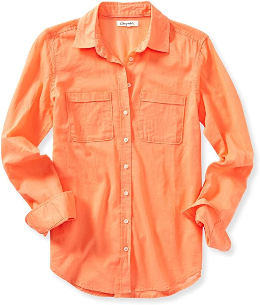 AEROPOSTALE Womens Solid Button Down Blouse