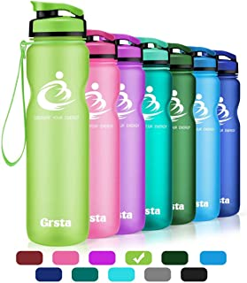 Grsta Sport Water Bottle 20oz/1L, Wide Mouth Leak Proof BPA Free Eco-Friendly Plastic Drink Best Water Bottles for Outdoor/Running/Hiking/Camping/Gym w Flip Top Lid & Filter Open with 1-Click
