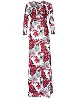 YUNY Women Deep V-neck Print Flower Long Sleeve Sexy Maxi Dress