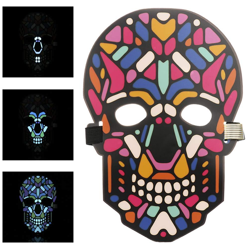 Blau Queta Halloween Masken Fasching Festival Party Cosplay LED Leuchten Maske Halloween Accessoires Batterie Angetrieben