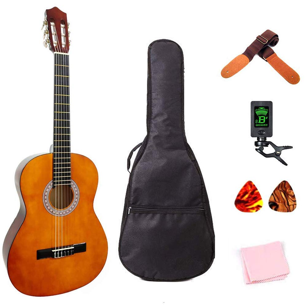 Classical Guitar 3/4 Size 36 inch Kids Guitar Acoustic Guitar for Beginners 6 Nylon Strings Guitar Starter Kits with Waterproof Bag Guitar Clip Tuner Strap Picks Wipe
