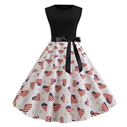 2646fef107 Amazon.com  Women s Vintage Cocktail Dresses July 4th American Flag Audrey  Hepburn Rockabilly 1950s Retro Swing Prom Party Midi Dress  Arts